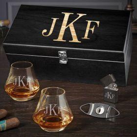 Classic Monogram Engraved DiMera Whiskey Gift Set