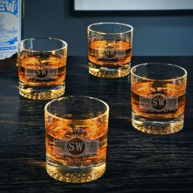 Marquee Churchill Engraved Set of 4 Bourbon Glasses