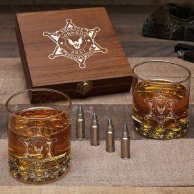 Sheriff Badge Personalized Bullet Whiskey Stones Set