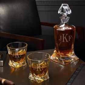 Classic Monogram Personalized Twist Whiskey Decanter Set