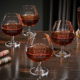 Ultra Rare Edition Personalized Grand Cognac Glasses Set of 4