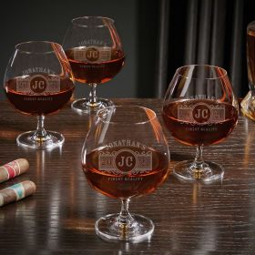 Marquee Personalized Grand Cognac Glasses Set of 4