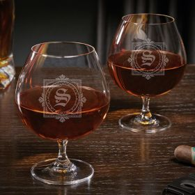 Winchester Engraved Grand Brandy Glasses Set of 2