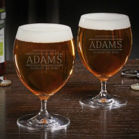Stanford Engraved Grand Craft Beer Glass Set of 2