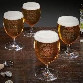 Ultra Rare Personalized Grand Snifter Beer Glasses Set of 4