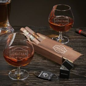 Fremont Personalized Grand Cognac Cigar Gift Set