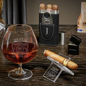 Ultra Rare Edition Engraved Grand Cognac Glass Gifts for Cigar Lovers