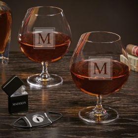 Block Monogram Engraved Grand Cognac Glasses Set