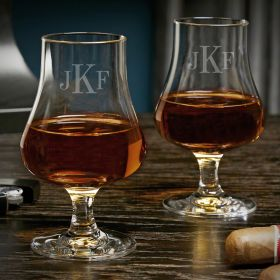 Classic Monogram Personalized Pair of Nosing Whiskey Taster Glasses