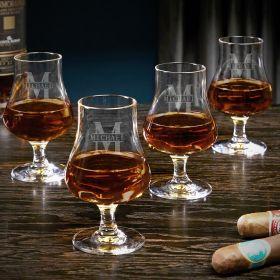 Oakmont Engraved Nosing Whiskey Taster Glasses Set of 4
