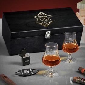 Wilshire Engraved Whiskey and Cigar Gift Set