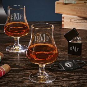Classic Monogram Etched Nosing Whiskey Taster Glasses