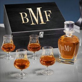 Classic Monogram Draper Whiskey Personalized Decanter Set