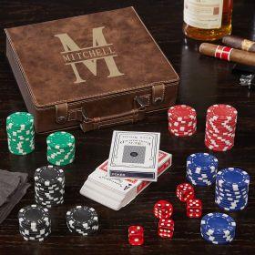 Oakmont Brown Personalized Poker Set