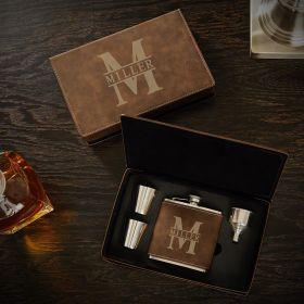 Oakmont Engraved Rustic Flask Gift Set