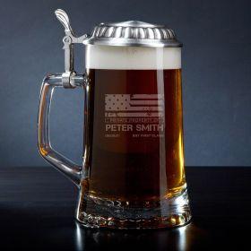 American Heroes Engraved Beer Stein Military Gift Idea