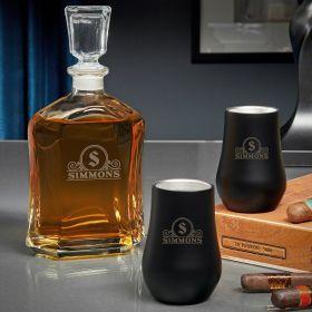 Canton Argos Custom Double Wall Neat Whiskey Decanter Set