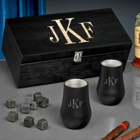 Classic Monogram Engraved Double Wall Neat Whiskey Gift Set