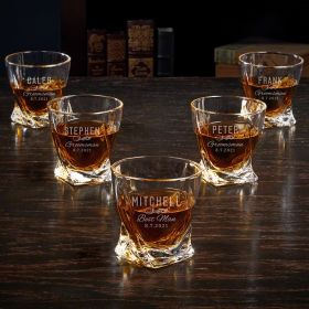 Classic Groomsman Etched Set of 5 Twist Glasses Gifts for Groomsmen