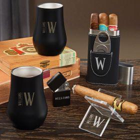 Elton Engraved Whiskey and Cigar Gift Set