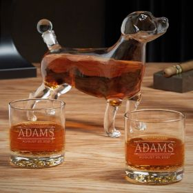 Stanford Personalized Whiskey Glasses and Dog Decanter Set
