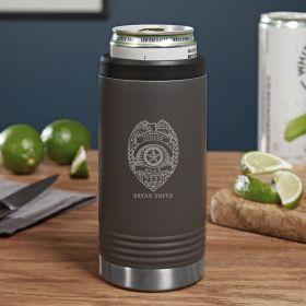 Police Badge Custom Gunmetal Seltzer Gift for Police Officer