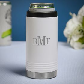 Classic Monogram Engraved White Slim Can Cooler