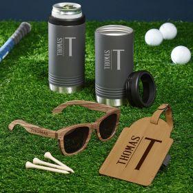 Elton Personalized Gunmetal Slim Can Cooler Set of Golf Gifts for Men