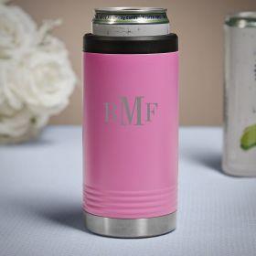 Classic Monogram Custom Pink Slim Can Cooler