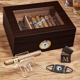 Single Initial Custom Cigar Gift Set with Humidor