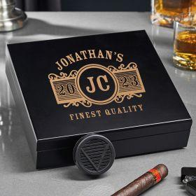 Marquee Engraved Black Cigar Humidor