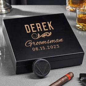 Classic Groomsman Custom Black Humidor Groomsman Gift