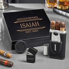 Stanford Engraved Humidor Set of Gifts for Cigar Lovers