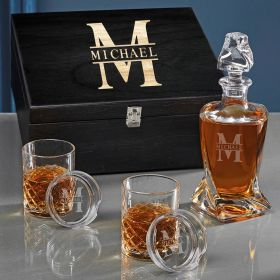 Oakmont Personalized Sterling Twist Whiskey Decanter Set
