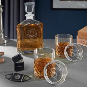 Liberty Scales Engraved Argos Whiskey Set of Lawyer Gifts