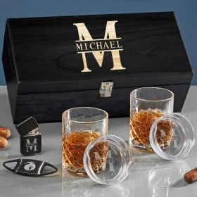 Oakmont Personalized Sterling Whiskey and Cigar Gift Set