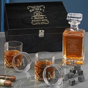 Tennessee Whiskey Engraved Carson Sterling Whiskey Decanter Set