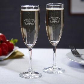 Wedding Party Custom Champagne Wedding Glasses