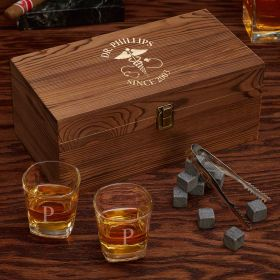 Caduceus Engraved Whiskey Box Set of Doctor Gifts