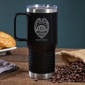 Police Badge Personalized Coffee Tumbler with Handle