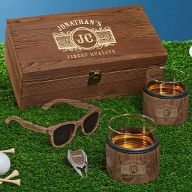 Marquee Engraved Whiskey Kuzie Wooden Gifts