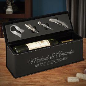 Wedding Bells Custom Leather Wine Gift Box