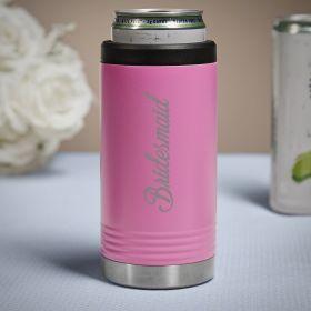 Bridal Party Pink Slim Can Cooler Bridesmaid Gift