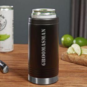 Groomsmen Black Slim Can Cooler Groomsman Gift