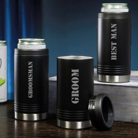 Groomsmen Black Slim Can Coolers Set of 3 Groomsmen Gifts