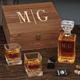 Quinton Monogrammed Carson Whiskey Decanter Set