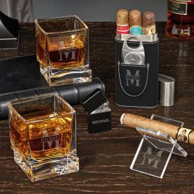 Oakmont Engraved Yorke Whiskey and Cigar Gift Set