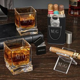 Quinton Engraved Yorke Whiskey and Cigar Gift Set