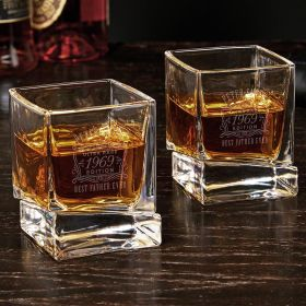 Ultra Rare Edition Engraved Pair of Yorke Whiskey Glasses