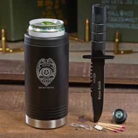 Police Badge Custom Black Can Cooler Police Gifts
